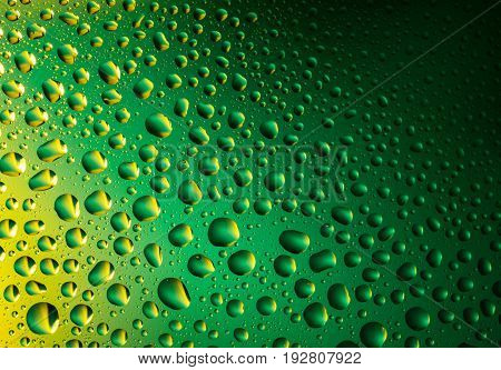 Water drops background. Green and yellow abstract and creative background. 3D Water drops close-up.