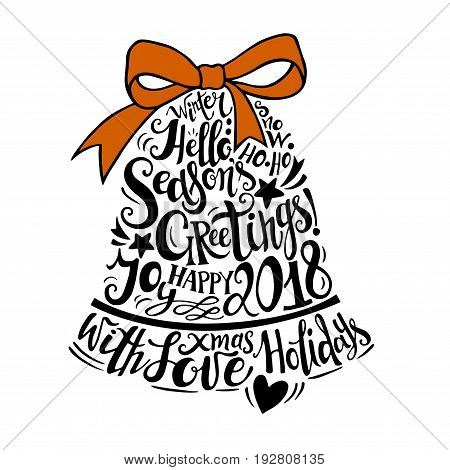 Vector Winter holidays illustration. Christmas silhouette bell with greeting lettering. Holly jolly celebration. Christmas, New Year symbol.