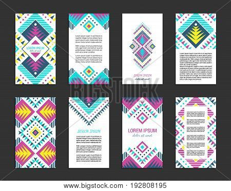 Aztec style colorful vertical flyer set. American indian ornamental pattern design. Front and back pages. Ornamental collection with ethnic motifs. Tribal decorative template. EPS 10 vector concept.