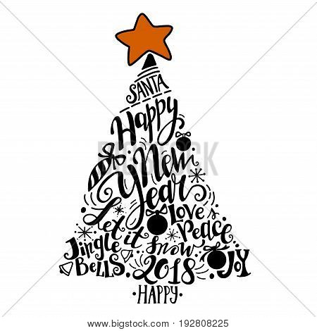 Vector Winter holidays illustration. Christmas silhouette tree with greeting lettering. Holly jolly celebration. Christmas, New Year symbol.