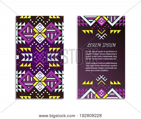 Aztec style colorful vertical flyer. American indian pattern design. Front and back pages. Ornamental blank with ethnic motifs. Tribal decorative template. EPS 10 vector concept. Isolated.