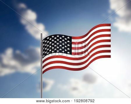 Realistic American Flag waving in the sky. Vector illustration to Independence Day of USA. 3D illustration