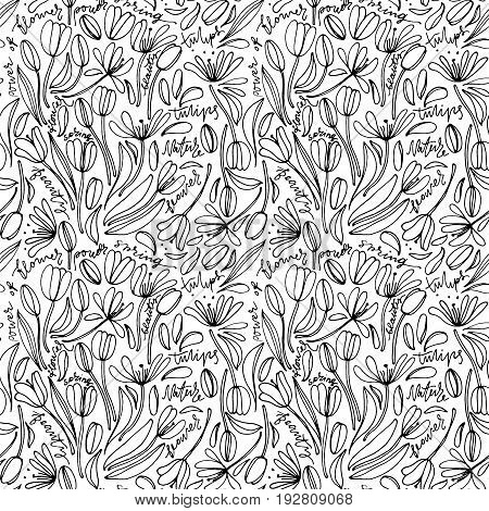 Vintage floral seamless pattern. Hand drawn abstract fancy flowers. Folk painting style. Summer blooming ornament. Repeatable backdrop.