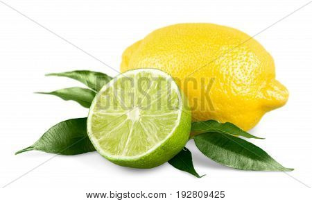 Isolated fresh lemon lime green yellow group