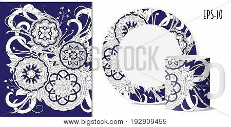 Hand drawn pattern with mandalas in zen style for decorate kitchenware cup dishes porcelain stationery. Mock-up of mug and saucer. eps 10.