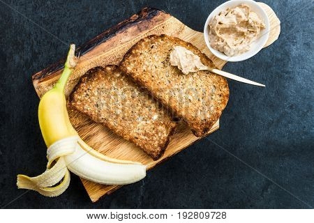 Toasts From Wholewheat Bread With Peanut Butter