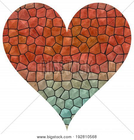 Mosaic big red and azure heart image