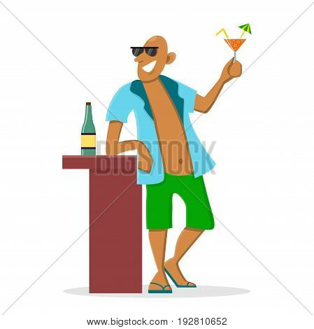Happy man drinking cocktail at the vacation. Vector illustration in cartoon style. Flat character isolated on white. Summer holiday concept.