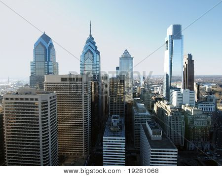 Pointy Philadelphia towers on a bright sunny afternoon.