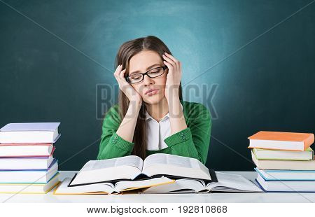 Annoyed student girl female bored research teenager