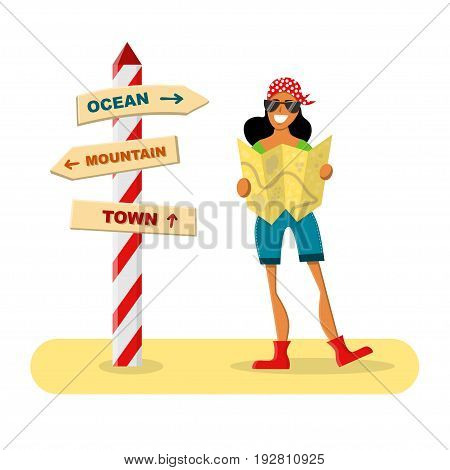Smiling female traveler holding a map next a road sign. Vector illustration isolated on white. Summer adventure, exploring and active leisure.