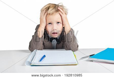 Little boy tired notepad person one young
