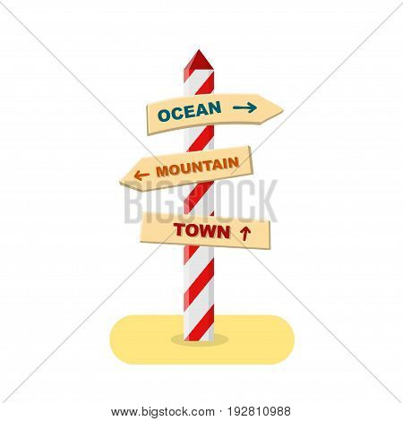 Road sign with three directions - ocean, mountain and town. Vector illustration in flat design. Isolated on white. Fully editable.
