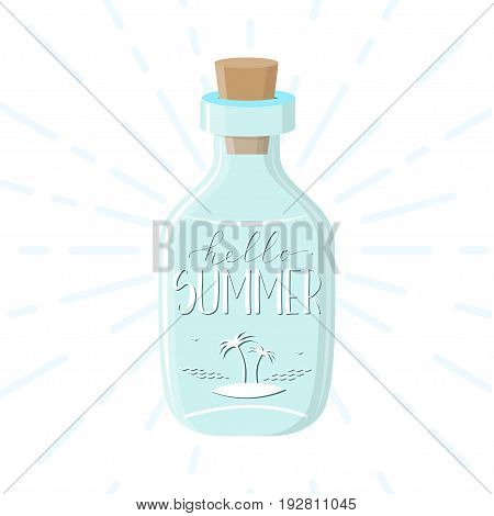 Cute typography poster with bottle and hand drawn quote
