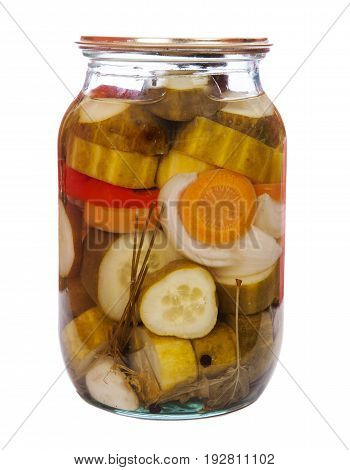 Jar of canned Pickled cucumbers isolated on white