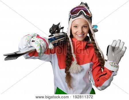 Happy female young board snow snowboard snowboarder
