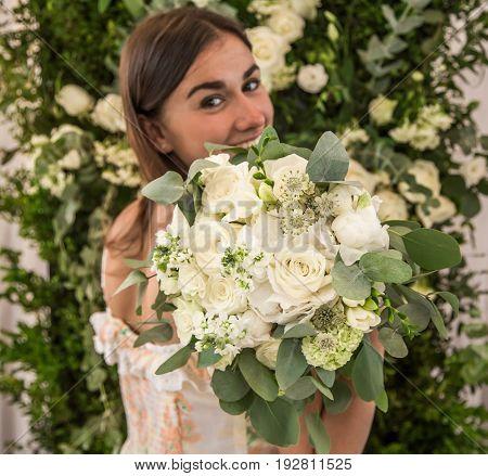 A Beautiful Bouquet In Hand,closeup