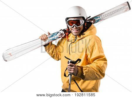 Young man suit ski wear skiing sport
