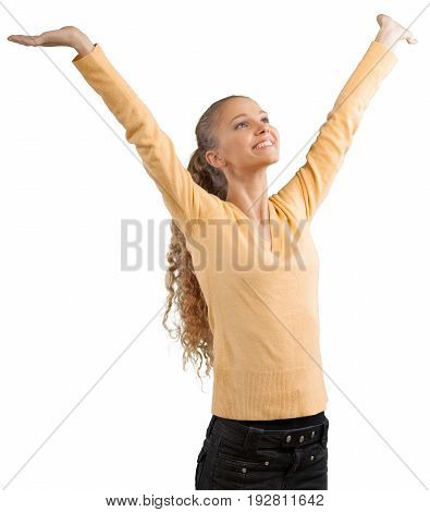 Beautiful girl arms outstretched arms outstretched white background