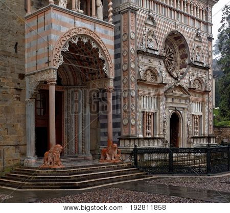 BERGAMO, ITALY - JANUARY 2, 2013: Porch on the left transept of the basilica of Santa Maria Maggiore. The porch was built in XIV-XV centuries