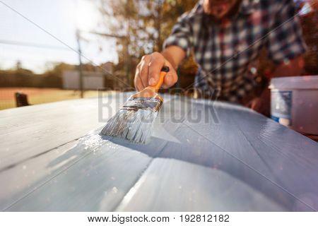 Painting wooden man brush wood paintbrush table