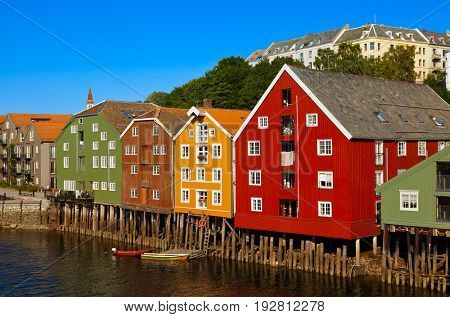 Cityscape of Trondheim Norway - architecture background