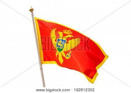 Montenegro flag - isolated on white background