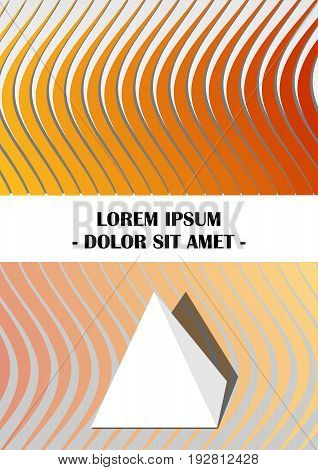 Flyer cover leaflet book bill template in yellow and orange design with abstract wavy shapes and paper pyramid vector EPS 10