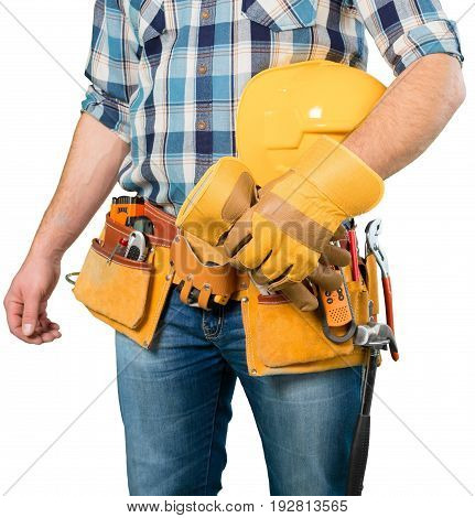 Tool worker belt tool belt white background object