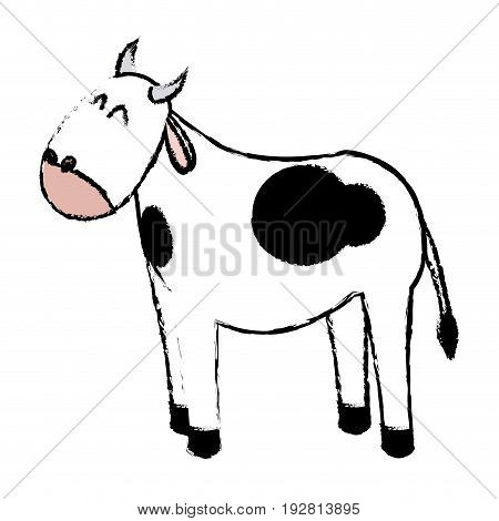 cute ox manger character design vector illustration
