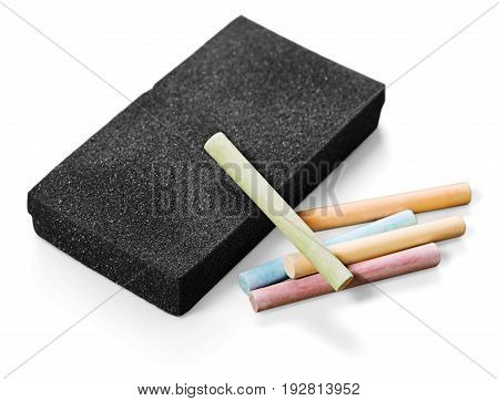 Erase eraser chalks green white background space