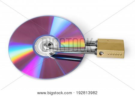 Lock cd dvd padlock white copy isolated