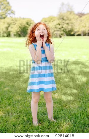 Portrait of cute adorable surprised little red-haired Caucasian girl child in blue dress standing on grass in park outside playing crying screaming in fear lifestyle childhood concept