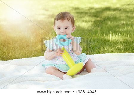 Portrait of cute adorable Caucasian baby girl girl with black brown eyes in light shirt sitting on blanket in park outside with toy sunny summer day with sunlight from above happy childhood