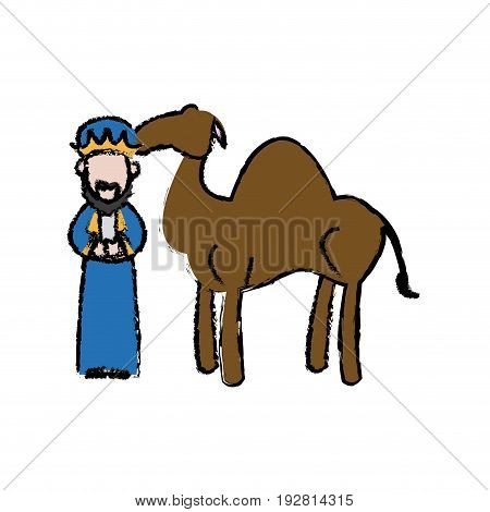 cartoon wise king with camel manger characters vector illustration