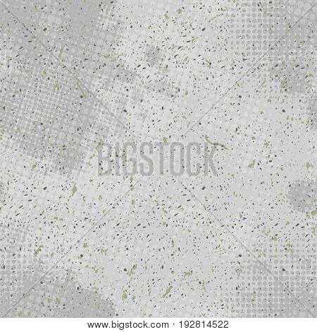 Vivid vintage vector seamless background in grunge style with scribbled texture and halftone dots