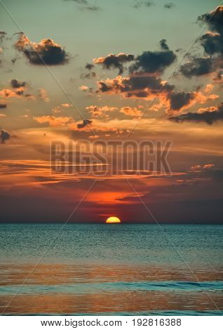 view of beautiful sunset above the sea, natural background.