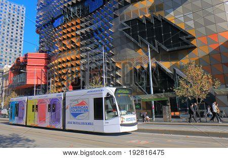 MELBOURNE AUSTRALIA - JUNE 14, 2017: Tram runs in downtown Melbourne.