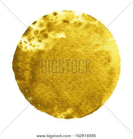Watercolor abstract yellow circle isolated on white background. Modern spot of round shape painted in watercolor in spicy mustard and orange colors. Trendy watercolour texture of 2017