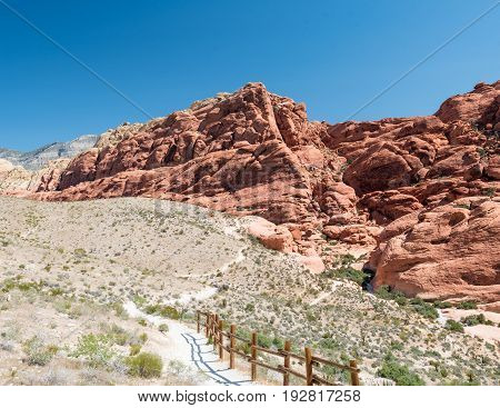 Hiking Trail and Fence in Red Rock Canyon