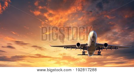 Landscape With White Passenger Airplane