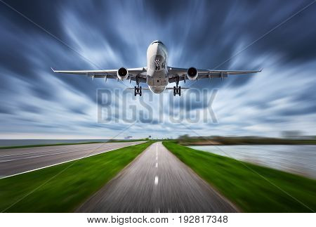 Airplane And Road With Motion Blur Effect
