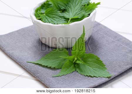 bowl of fresh nettle leaves on grey place mat - close up