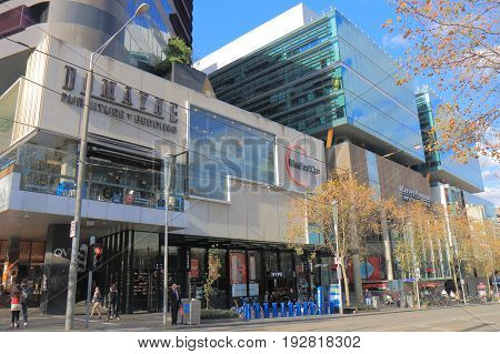 MELBOURNE AUSTRALIA - JUNE 14, 2017: Unidentified people visit Melbourne QV shopping mall. QV is located in the city centre of Melbourne and one of the most popular shopping spots.