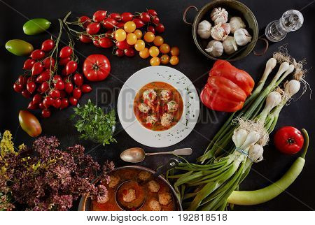 Meatballs Soup And Ingredients
