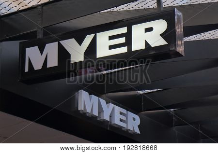 MELBOURNE AUSTRALIA - JUNE 14, 2017: Myer Department Store. Myer is an Australian's largest department store chain targeting mid-to-up market.