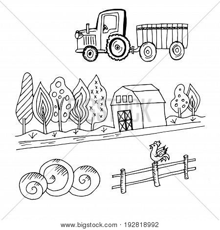 Doodle truck tractor with a farm and trees, fence and rooster