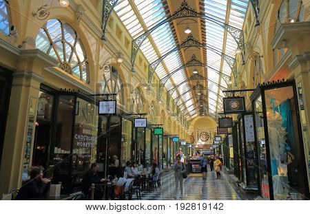 MELBOURNE AUSTRALIA - JUNE 14, 2017: Unidentified people shop at Royal Arcade. Royal Arcade is a heritage shopping arcade in Melbourne, originally constructed in 1869