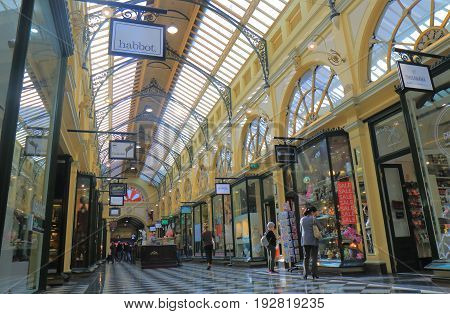MELBOURNE AUSTRALIA - JUNE 14, 2017: Unidentified people shop at Royal Arcade. Royal Arcade is a heritage shopping arcade in Melbourne, originally constructed in 1870