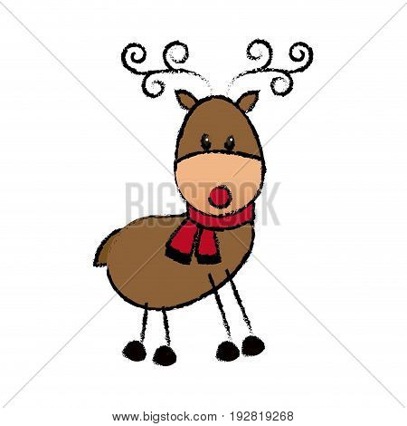 happy cartoon christmas reindeer with scarf vector illustration